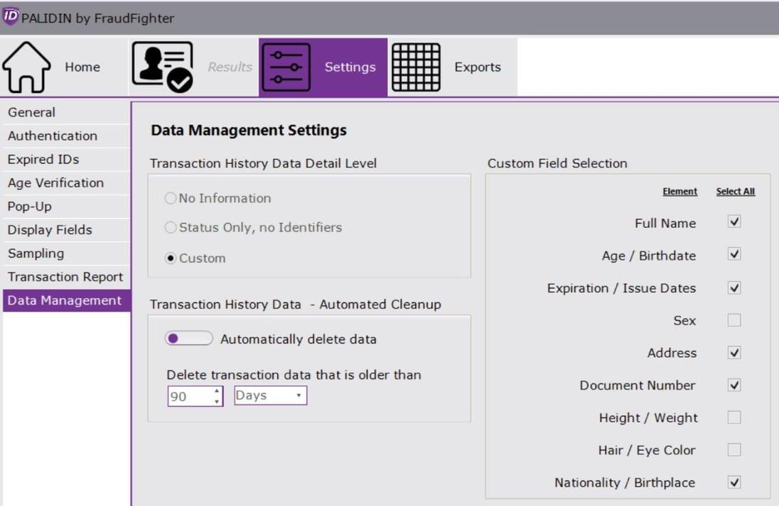 PALIDIN Configuration Screen