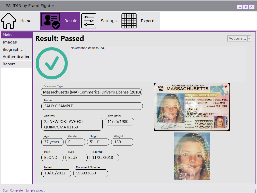 palidin identity authentication passed results screen